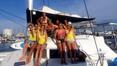 hen do ibiza catamaran sailing boat